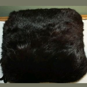 Authentic black mink muff with silk rope handle